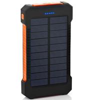banco de energía solar dual al por mayor-18650 Paquete de baterías externas, Cargador solar, Teléfono a prueba de agua, Batería externa, Banco dual de alimentación USB para Iphone, SAMSUNG, MÓVIL, TABLETAS, Cámara