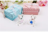 Wholesale christening gifts for girls online - Baby Christening Favors and Gifts Crystal Teddy Bear Figurines Pink for Girl Blue for Boy W9462