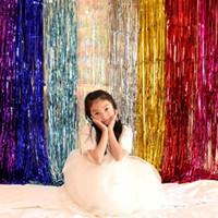Wholesale 2m backdrop resale online - 2M M Metallic Foil Fringe Shimmer Backdrop Wedding Party Wall Decoration Photo Booth Backdrop Tinsel Glitter Curtain Gold