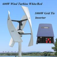24v rüzgar invertörü toptan satış-ev kullanımı için 1000w AÇIK Izgara Tie Inverter ile 600w 12v 24v 48v 300rpm Dikey Rüzgar Türbini Maglev Rüzgar Jeneratörü