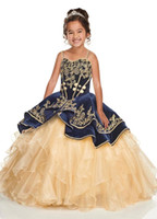Wholesale beautiful blue girls pageant dress for sale - Group buy Beautiful Lace Flower Girl Dresses For Weddings Tiered Spaghetti Ruffles Lace Up Kids Pageant First Communion Gowns Custom Made BC2722