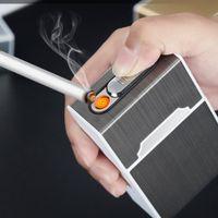 homens do cigarro venda por atacado-New cigarreira portátil com 20pcs Isqueiro do cigarro Titular Waterproof Cigarette Box USB elétrico recarregável mais leve Presentes Homens