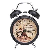 ingrosso sveglia da tavolo al quarzo-Retro Alarm Clock Round Number che mostra Bed Desk Table Travel Quarzo Lega di plastica Orologio sveglia portatile Home Decor 2018 Piccolo ZJ0364
