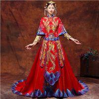 ingrosso abito blu orientale-Vintage Blue Cheongsam moderno cinese tradizionale abito da sposa donna Vestido Oriental Collars Elegent Long Qi Pao Taglia S-XXL