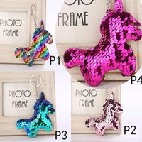 Wholesale baby blue keychain for sale - Group buy 4 styles unicorn Heart Keychain Glitter Mermaid Sequins Key Ring Gifts for baby Charms Car Bag Key Chain Party Favor C3