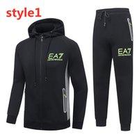 kore takım elbise modelleri toptan satış-İtalya marka Kazak elbise erkek kapüşonlu ilkbahar ve sonbahar modelleri Kore eğilim gündelik sonbahar spor klasik baskı EA ceket