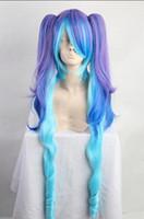 mor mavi karışık peruk toptan satış-PERUK ücretsiz kargo Moda Parti Miku Cosplay Peruk Gelin Kadınlar Kız Mor Mavi Mix Peruk Saç