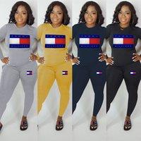 chemises de bowling imprimées achat en gros de-Designer femme 2 pièces Tenues Pantalons T-shirt rose Leggings Survêtements Lettre d'impression T-shirt imprimé T Pantalon de sport rue Set