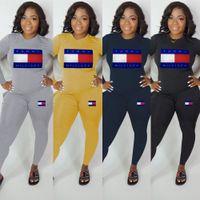 kadınlar için pembe eşofman xl toptan satış-Tasarımcı Kadınlar 2 adet kıyafetler Pantolon tişört Tozluklar Pembe Tracksuits Harf Baskı Baskılı T-Shirt Tee Pantolon Spor Sokak Seti