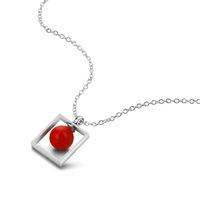 ingrosso perle faux rosse-Elegante collana di ciondolo quadrato in argento sterling 100% 925 con gemme di perle di Faux Pearl Chocker elegante per gioielli da donna