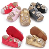 Wholesale infant girl mary jane shoes resale online - Baby Girls princess crown dress shoes colors Infants cute blingbling Crown Mary Jane shoes first walkers sizes toddlers princess shoes B