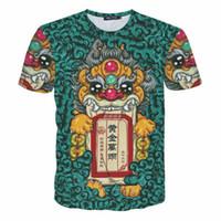 women t shirts china großhandel-EU Größe 2019 Neue Mode China Stil 3D gedruckt Harajuku T-Shirts Männer / Frauen Kurzarm Oansatz T-Shirts lustige Top M-2XL