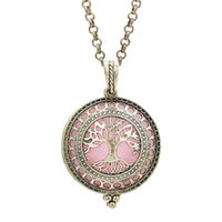Wholesale lockets float charms for sale - Group buy Antique Bronze Magnetic Open Tree of Life Aromatherapy Perfume Locket Essential Oil Diffuser Pendant Floating Charms With Chain