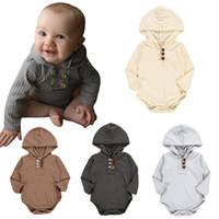 4t onesies al por mayor-Baby onesies color sólido hilo manga larga con capucha triángulo mameluco mameluco ropa de bebé ins explosión ropa de bebé
