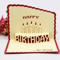 Wholesale free happy birthday card for sale - Group buy New D Pop Up Greeting Cards Handmade Happy Birthday hollow out Cake Thank You Postcard