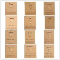 ingrosso 12 segni zodiacali-Gioielli di moda 12 Constellation Pendant Necklace Zodiac Sign Collana Regali di compleanno Message Card per le donne ragazza