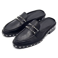 Wholesale cow leather men sandals for sale - Group buy Mules Black Half Cow Skin Runway Fashion Metal Mens Shoes Italy Brand Large Size Sandals Rivet British Style Custom Stud Slides