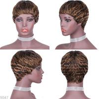 afrikalı amerikalı peruk patencileri toptan satış-Brezilyalı düz Short insan peruk hiçbir dantel patlama makine peruk 2020 bob marley saç 27/01 renk peruklar african kadınlar perukları