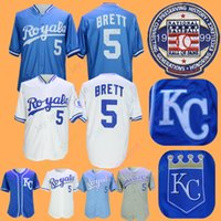 0ed9b2c4c8a Kansas City 1985 George Brett Jersey With 1999 Hall Of Fame Patch  Cooperstown Royals Home Away Blue White