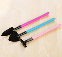 Wholesale colorful garden tools for sale - Group buy 3PCS SET Mini Shovel Spade Rake Metal Head Garden Gardening Plant Tools Set with Colorful Wooden Handle SN3997