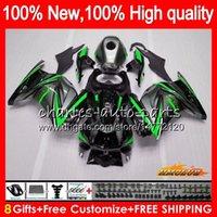 kawasaki ninja ex fairing toptan satış-KAWASAKI ZX250R yeşil gri sıcak EX250R 2008 2009 2010 2011 2012 13HC.68 EX250 EX250 ZX 250R EX 250 ZX250R 08 09 10 11 12 Kalafatlama için Vücut