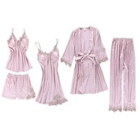 bestickte seide nachthemd großhandel-5Pcs Suit Pyjamas Set Damen Imitation Silk Bestickt Floral Lace Applique Trim Einfarbig Nachtwäsche Push Up Gepolstertes Nachthemd