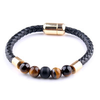 Wholesale tiger eye color for sale - Group buy Pretty New fashion personality bracelet Color agate tiger eye leather bracelet Men and women couple bracelet Beautiful stone