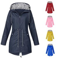 Wholesale blue rain clothing resale online - Camping Hiking clothes Women Solid Rain Jacket Outdoor Plus Size Waterproof Hooded Raincoat Windproof coat ropa senderismo mujer