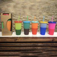 taza de agua mágica al por mayor-710 ml Copas de cambio de color Bebidas de plástico mágicas Copa con tapa de paja Colores de caramelo Bebidas frías reutilizables Botella de agua Taza de café