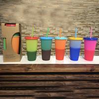 ingrosso bottiglie di caramella di plastica-710ml Tazze per cambiare colore Bicchieri per bere in plastica magici Tazza con coperchio in paglia Colori caramella Riutilizzabili bevande fredde bottiglia d'acqua Tazza da caffè