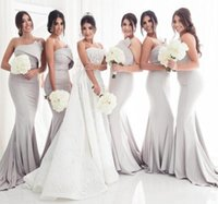 Wholesale strapless light blue bridesmaid dresses for sale - Group buy New Sexy Mermaid Bridesmaids Dresses Long Satin Strapless Sleeveless Ruched Backless Sweep Train Plus Size Custom Wedding Guest Gowns