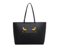 doğrudan satış çantası toptan satış-Moda Tote Çanta Canavar Gözler Sıcak Satış Lüks Tasarımcı Çanta PU Deri Kadın Omuz Çantaları Siyah Fabrika Doğrudan Satış