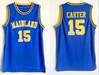 ingrosso tacchi azzurri neri-NCAA Mainland High School # 15 Vince Carter Blue Maglia da basket Black White North Carolina Tar Heels College cucita Vince Carter Maglie