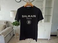 erkek gömlek ünlü marka toptan satış-2019 Yeni Balmain T-Shirt Varış Ünlü Lüks Fransa Marka Balmain TEE Moda Modeli Kadınlar Erkekler Için Sıska Delik