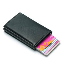 erkekler için küçük deri çantalar toptan satış-RFID Kart Sahibi Erkekler Cüzdan Para Çantası Erkek Vintage Siyah Kısa Çanta 2019 Küçük Deri İnce Cüzdan Mini Yeni Minimalism Metal Cüzdan