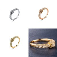 elmas sonsuzluğu toptan satış-Kişilik Hanımefendi Taş Altın kaplama Gül Altın Takı Elmas Yüzük Infinity Yüzük Toptan Gümüş Bantlar