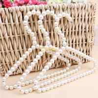 Wholesale clothes hangers pearls resale online - 20cm Plastic Pearl Beaded Clothes Dress Coat Hangers Wedding For Pet Kid Children Save Space Storage Organizer