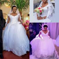 nigerianische ballkleider großhandel-2019 African Nigerian Ballkleid Brautkleider Plus Größe V-ausschnitt Pailletten Spitze Applique Gericht Zug Tiered Tüll Brautkleid Brautkleider