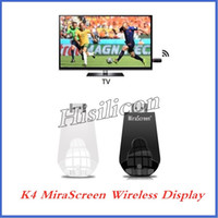 Wholesale 50pcs K4 MiraScreen OTA TV Stick Dongle Better Than EasyCast Wi Fi Display Receiver DLNA Airplay Miracast Airmirroring Chromecast FREE