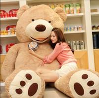 büyük oyuncak ayı kızları toptan satış-Satış Oyuncak Büyük Boy 200 cm Amerikan Dev Ayı Cilt, Teddy Bear Coat, Kızlar Için iyi Kalite Factary Fiyat Yumuşak Oyuncaklar J190506