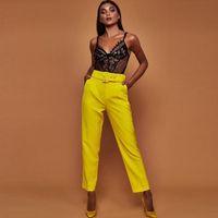 frauen hosen groihandel-Beiläufige Hosen mit hoher Taille Herbst Belted gerades Bein Slacks Büro-Dame Anzughose Frauen Hosen