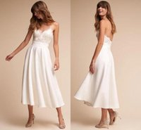 Wholesale simple wedding dresses for sale - 2019 Simple White Ivory Tea Length Wedding Dresses A Line Spaghetti Straps Lace Appliques Top Summer Beach Boho Bridal Gowns BC0618