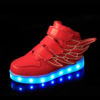 acenda asas de sapatos venda por atacado-Crianças Sapatos Levou Crianças Casuais Asas Bonitos Sapatos Coloridos LED Brilhando Meninos E Meninas Sneakers USB de Carregamento Acender Sapatos 6 Cores