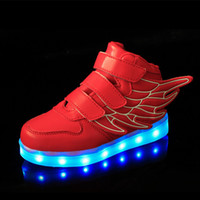 Wholesale shoes children c for sale - Group buy Kids Led Shoes Children Casual Cute Wings Shoes Colorful LED Glowing Baby Boys And Girls Sneakers USB Charging Light up Shoes Colors