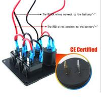 led-schalter fahrzeuge großhandel-3Gang Wippschalter Panel mit Steckdose 3.1A Dual USB Verdrahtungssets für Marine Rv Fahrzeuge LKW blau led