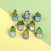 Wholesale Cartoon Cactus Brooch Cute Mini Plant Pot Enamel Women Denim Jackets Lapel Pins Hat Badges Kid Jewelry Christmas Gift
