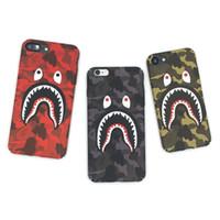 coque samsung оптовых-Для iPhone X Phone Case Мода Камуфляж Акула Рот Pattern Матовый Жесткий ПК Чехлы Для iPhone 7 8 6 6 s Плюс Крышка Coque