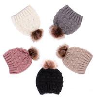 Wholesale baby beanie animal resale online - Bean Bean Hat Cute Kid Child Girl Boy Boy Baby Baby Winter Warm Crochet Hat Pansy Hairball EEA904