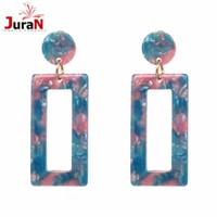 pendientes de moda al por mayor-JURAN 2018 Trending Jewelry Big Square Drops Pendientes colgantes boucle d'oreille Pendientes colgantes para mujeres Accesorios de moda