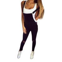 kadın denim tulumlar tulum toptan satış-Kadın Siyah Denim Tulum Moda Önlüğü Delik Askı Patchwork Kot Kot Pantolon Tulum combinaison tulum # YL